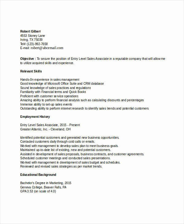 Entry Level Sales Resume New 25 Modern Sales Resume Templates Pdf Doc