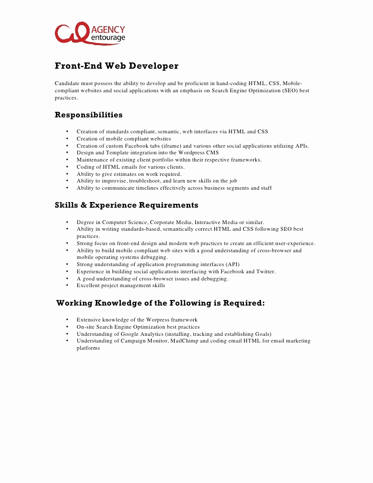 Entry Level Web Developer Resume Awesome 11 Front End Web Developer
