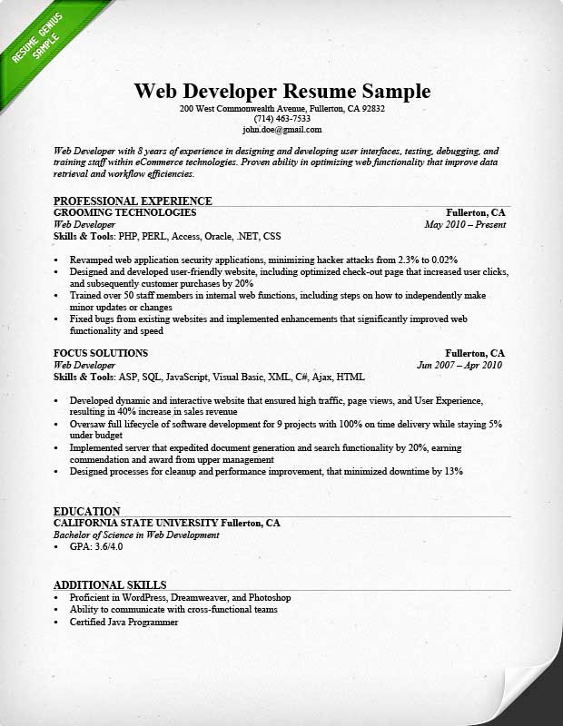 Entry Level Web Developer Resume Inspirational Web Developer Resume Sample & Writing Tips