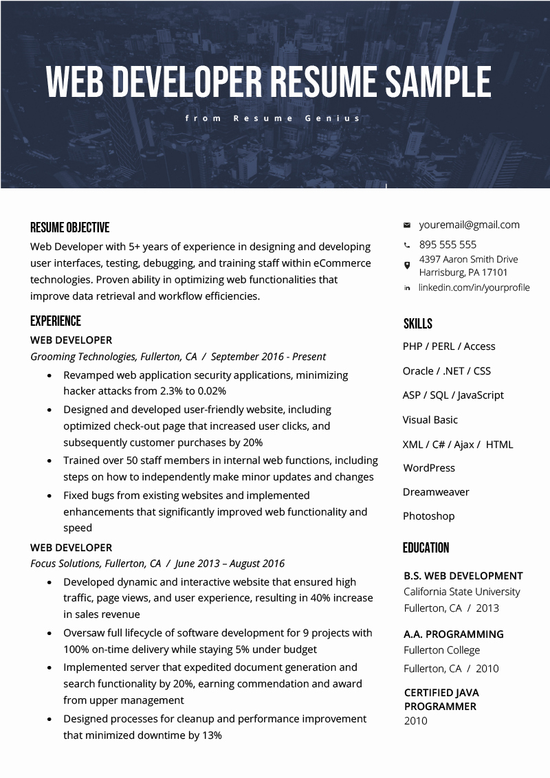 Entry Level Web Developer Resume New Web Developer Resume Sample & Writing Tips