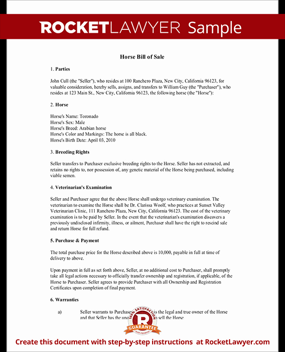 Equine Bill Of Sale Fresh Horse Bill Of Sale form Bill Of Sale for Horse Template