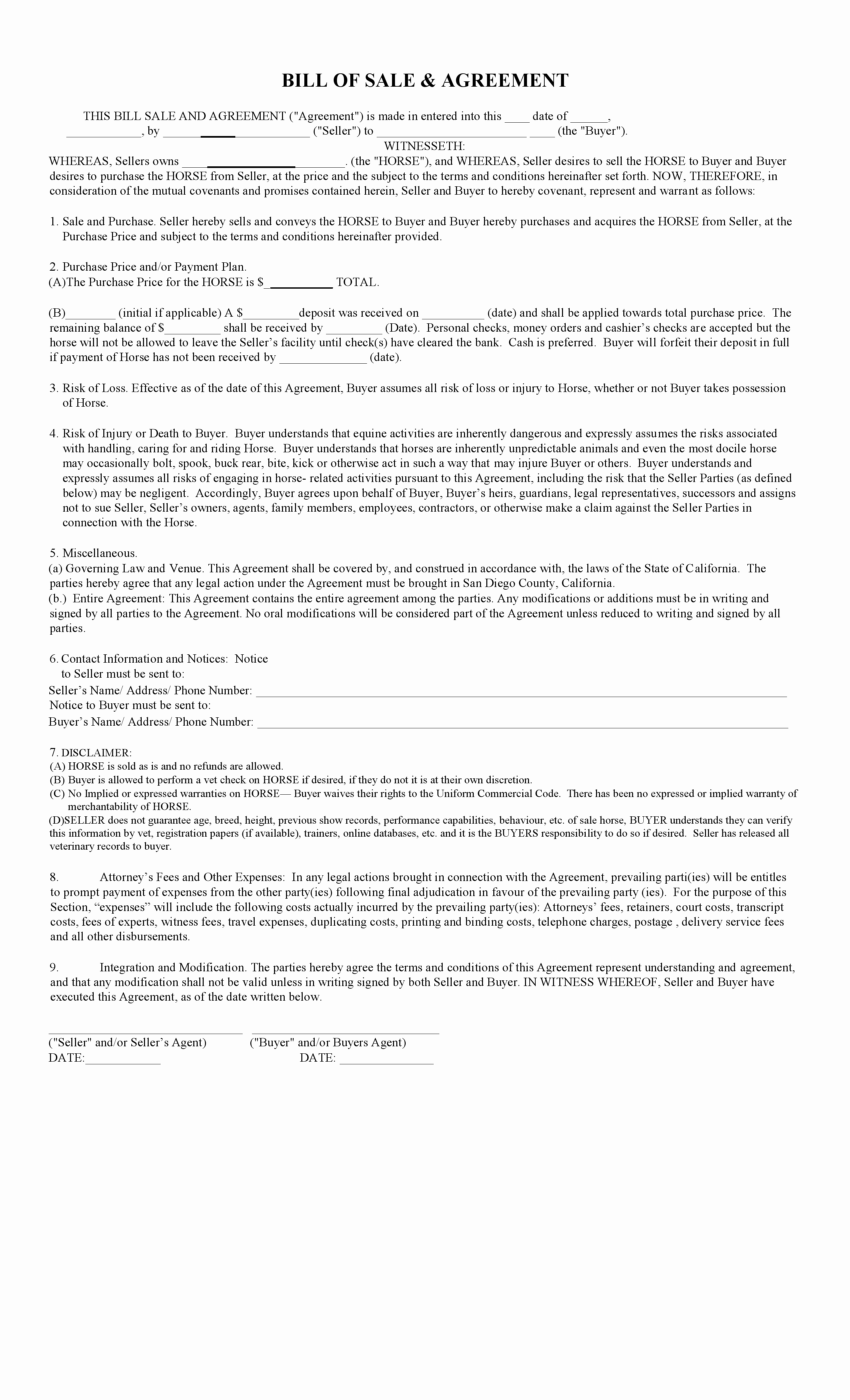 Equine Bill Of Sale Inspirational Free California Horse Bill Of Sale & Agreement Template