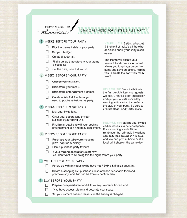 Event Planning Checklist Template Awesome 11 Free Printable Party Planner Checklists – Tip Junkie