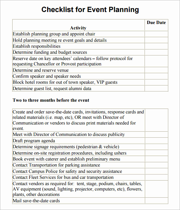 Event Planning Checklist Template Awesome 11 Sample event Planning Checklists Pdf Word
