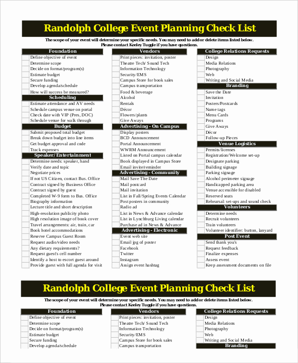 Event Planning Checklist Template Awesome event Planning Checklist 14 Free Word Pdf Documents