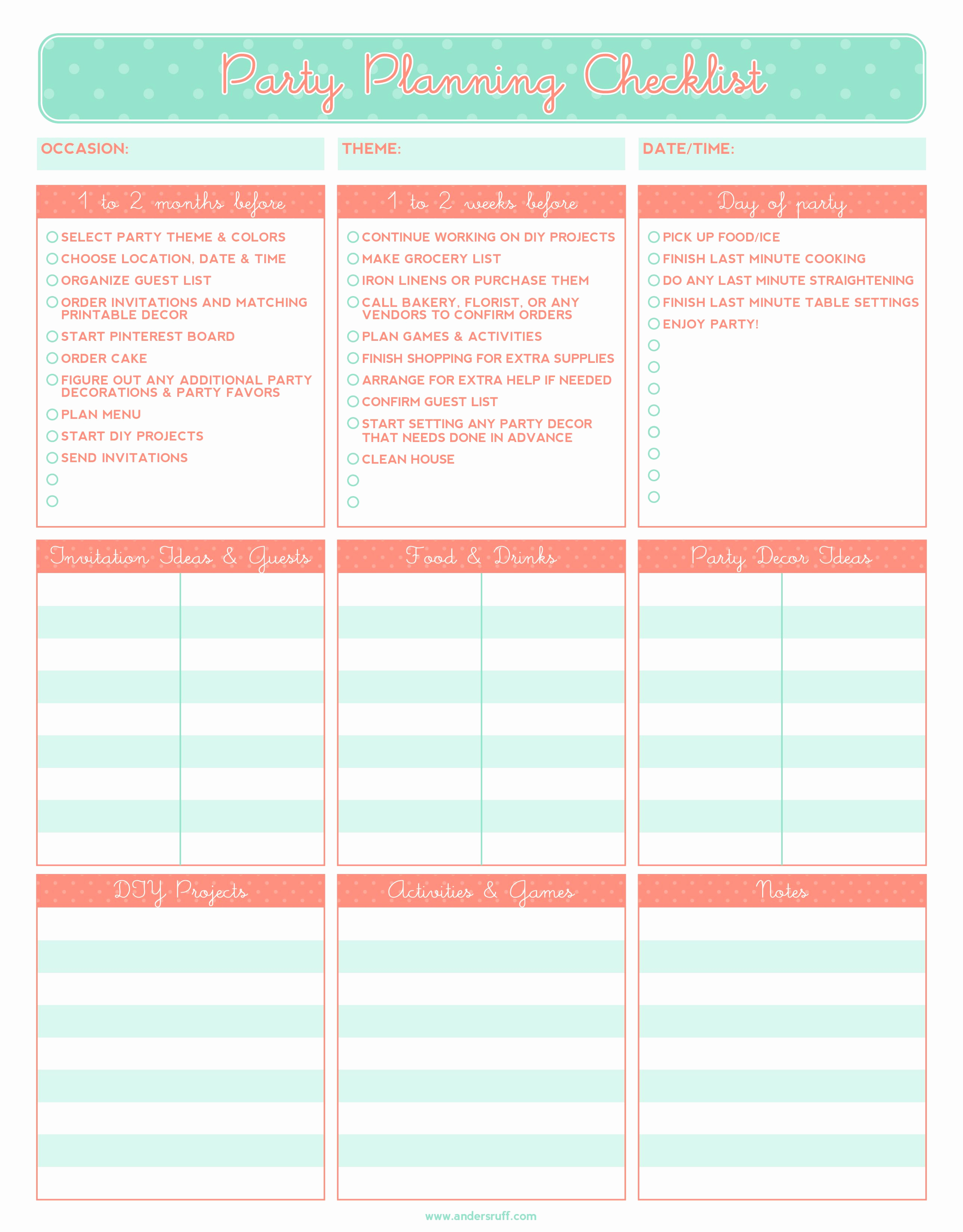 Event Planning Checklist Template Elegant Free Printable Party Planning Checklist