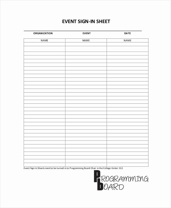 Event Sign In Sheet Best Of 11 Sign In Sheet Samples & Templates