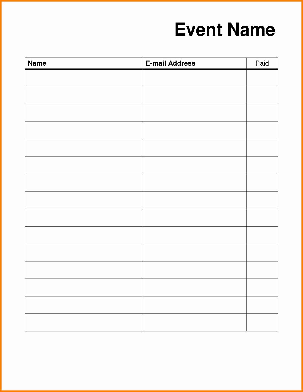 Event Sign In Sheet Elegant Blank Sign Up Sheet Printable