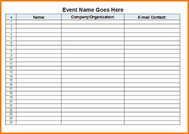 Event Sign In Sheet Inspirational event Sign In Sheet