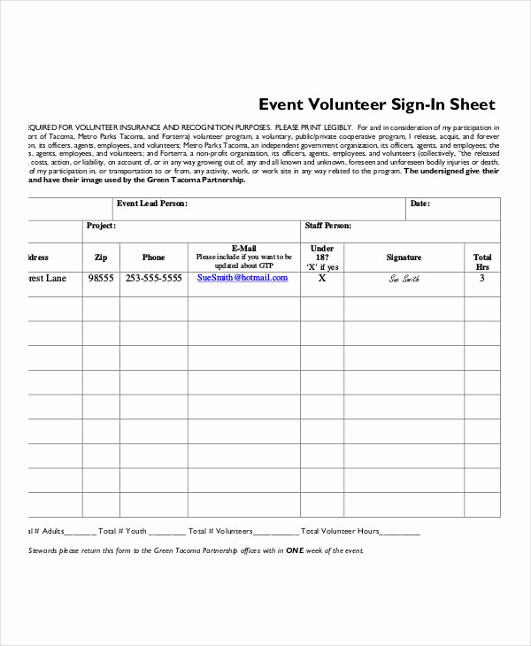 Event Sign In Sheet Luxury Volunteer Sign In Sheet Templates 14 Free Pdf Documents