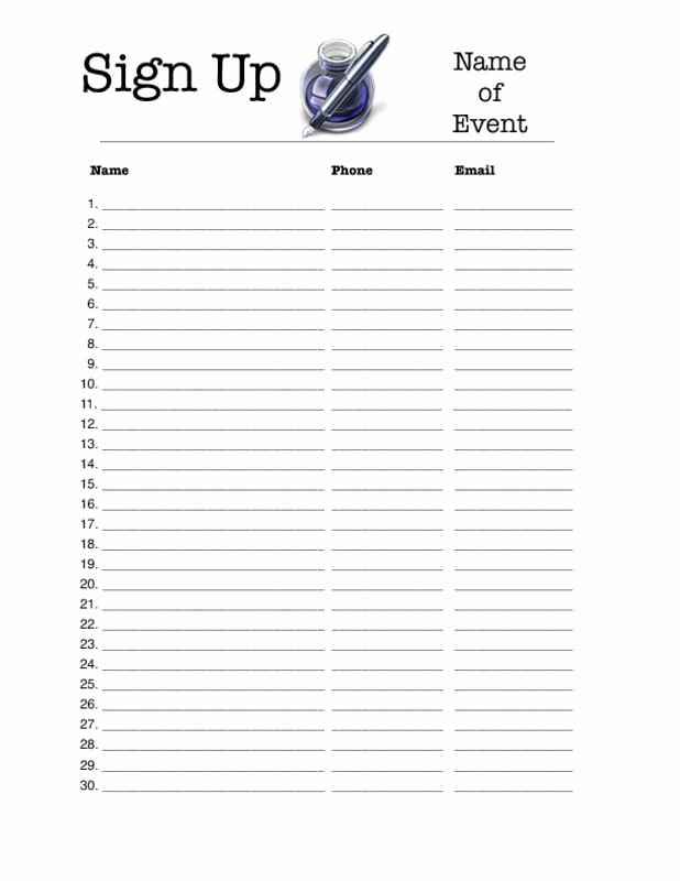 Event Sign In Sheet New event Sign Up Sheet Template