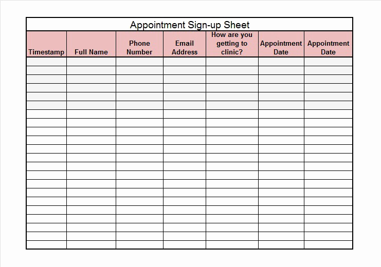 Event Sign In Sheet Template Awesome 40 Sign Up Sheet Sign In Sheet Templates Word & Excel