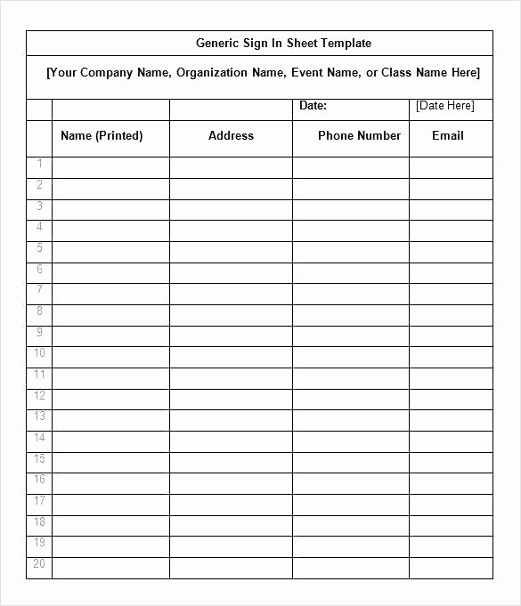 Event Sign In Sheet Template Awesome event Sign In Sheet Template Free – Signing Sheet