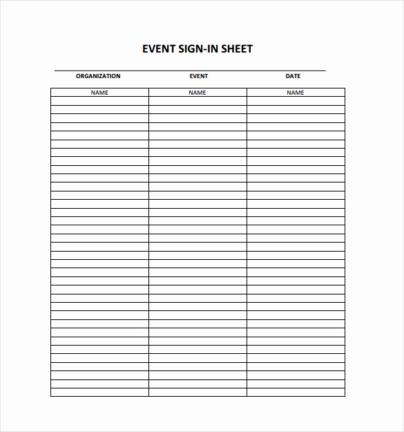 Event Sign In Sheet Template Beautiful 18 Sign In Sheet Templates – Free Sample Example format