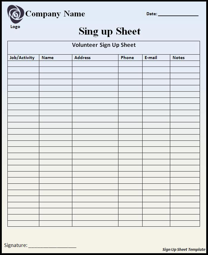 Event Sign In Sheet Template Unique Sign Up Sheet Template