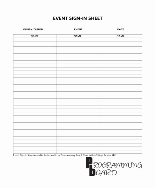 Event Sign In Sheet Unique 44 Sheet Templates