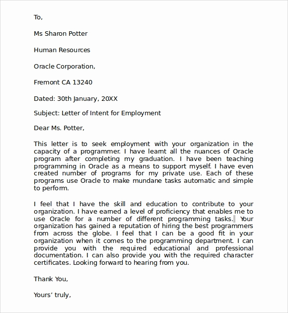 Example Letter Of Intent Awesome 10 Letter Of Intent for Employment Samples Pdf Doc