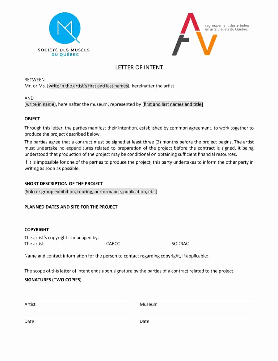 Example Letter Of Intent Awesome 40 Letter Of Intent Templates & Samples [for Job School