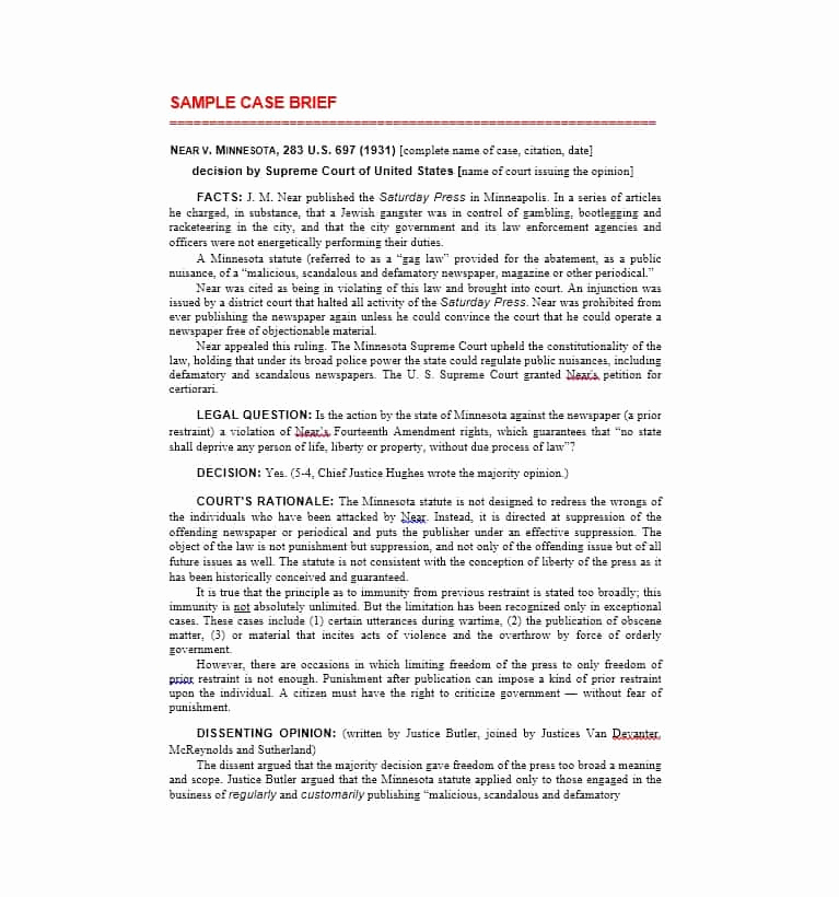 Example Of A Case Brief Awesome 40 Case Brief Examples & Templates Template Lab