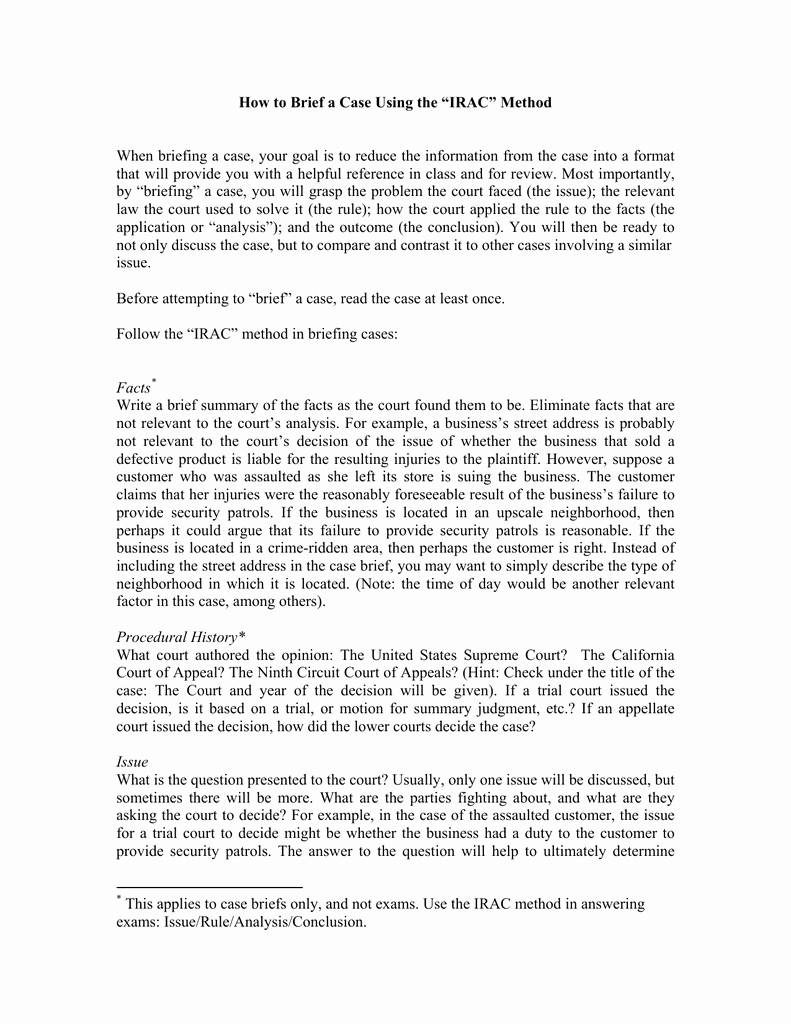 Example Of A Case Brief Best Of Writing A Case Brief Example Firac