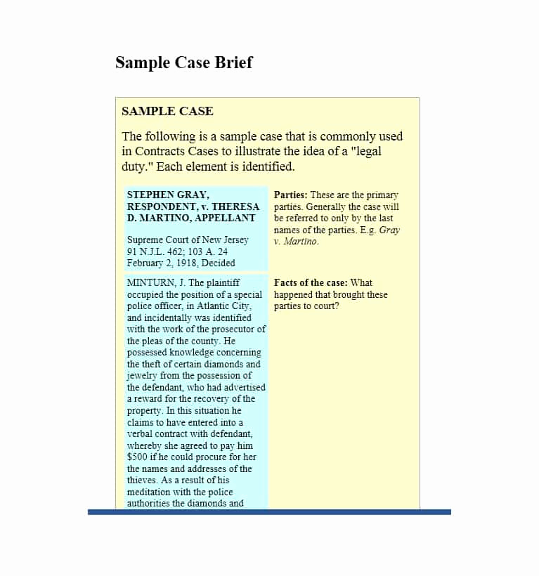 Example Of A Case Brief Fresh 40 Case Brief Examples & Templates Template Lab