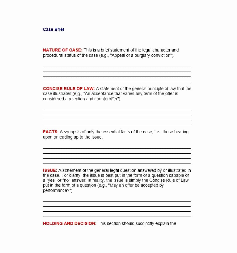 Example Of A Case Brief Inspirational 40 Case Brief Examples & Templates Template Lab