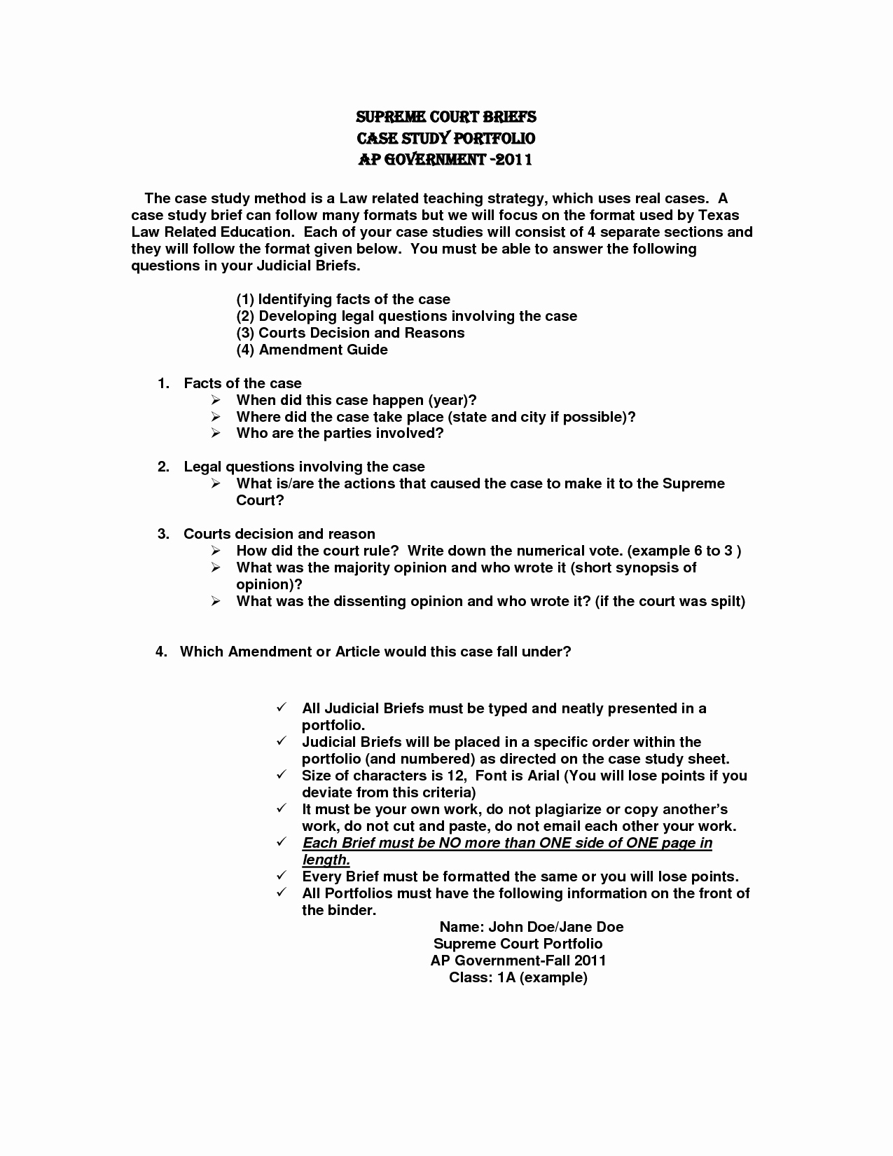 case brief template