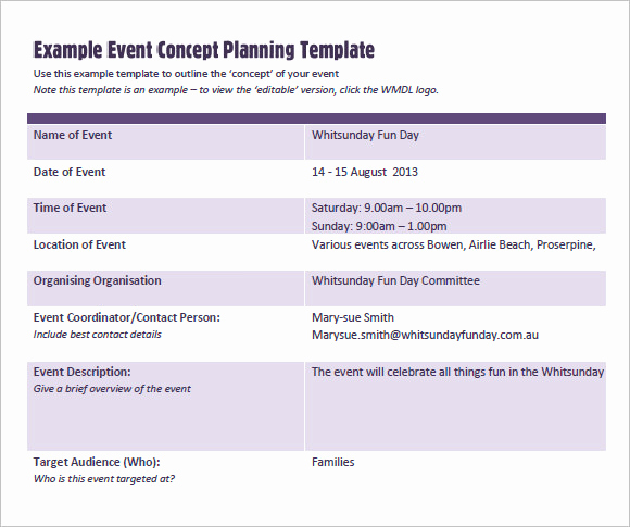 Example Of A Concept New event Planning Template 9 Free Samples Examples format