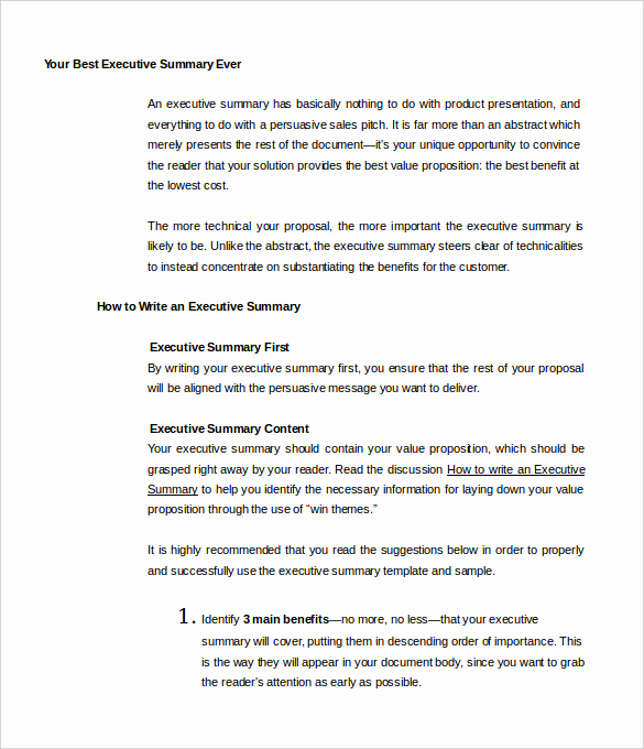 Example Of An Executive Summary Inspirational 31 Executive Summary Templates Free Sample Example