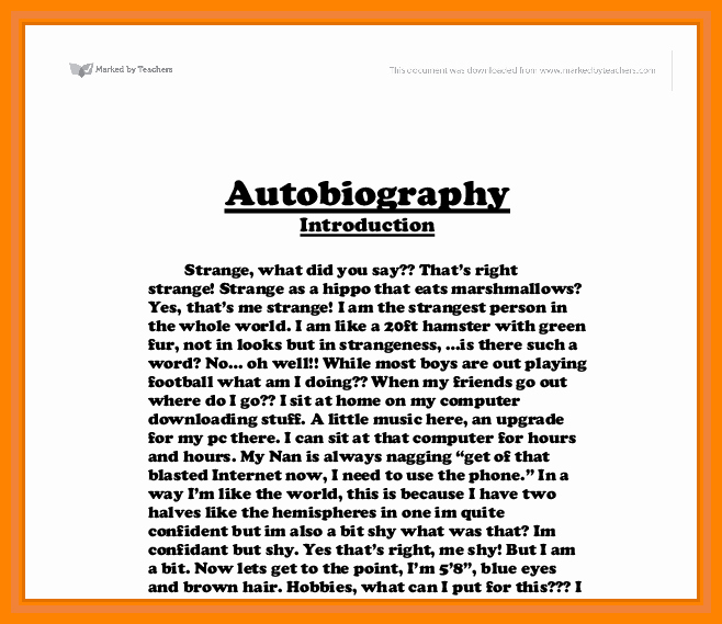 Example Of Autobiography About Yourself Lovely 16 Auto Biography Sample