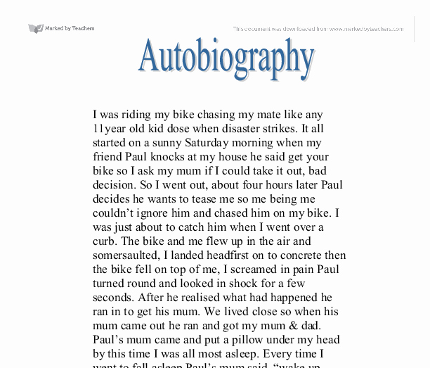 Example Of Autobiography About Yourself New Autobiography Creative Writing Gcse English Marked