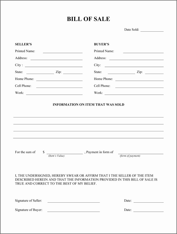 Example Of Bill Of Sale Beautiful Free Printable Rv Bill Of Sale form form Generic