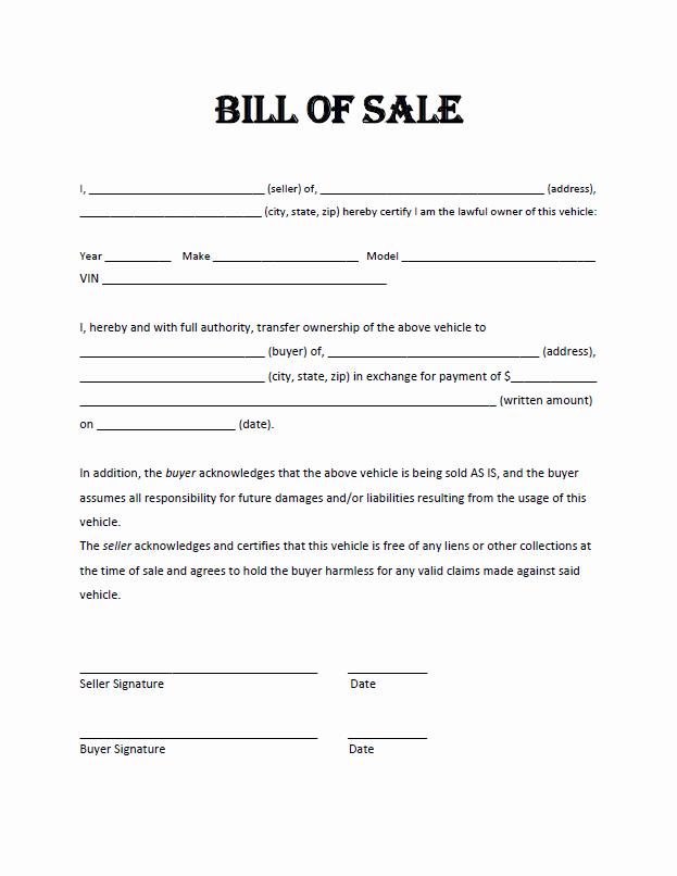 Example Of Bill Of Sale Elegant Free Bill Sale Template