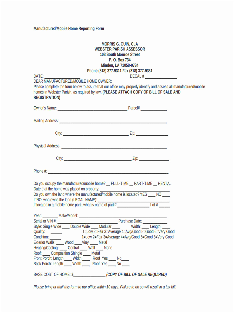 Example Of Bill Of Sale Fresh 5 Mobile Home Bill Of Sale Sample Free Sample Example