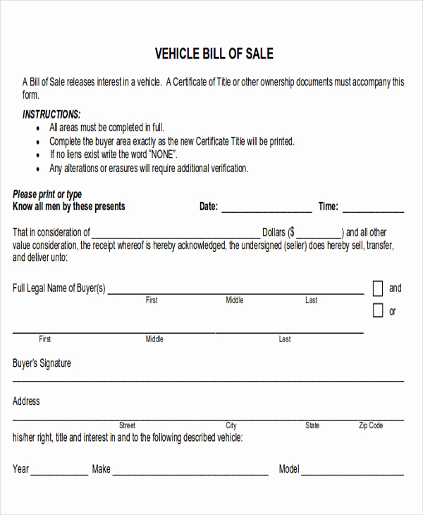 Example Of Bill Of Sale Fresh 6 Automotive Bill Of Sale