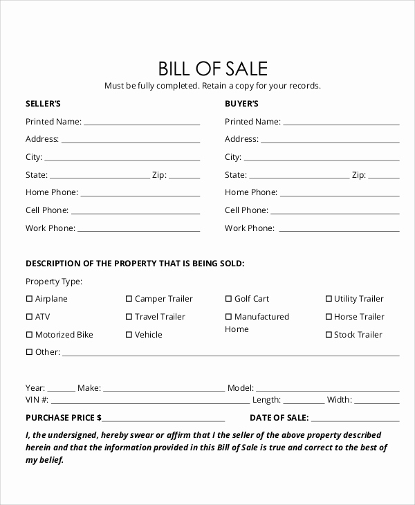 Example Of Bill Of Sale Inspirational 12 Sample Bill Of Sale forms In Pdf