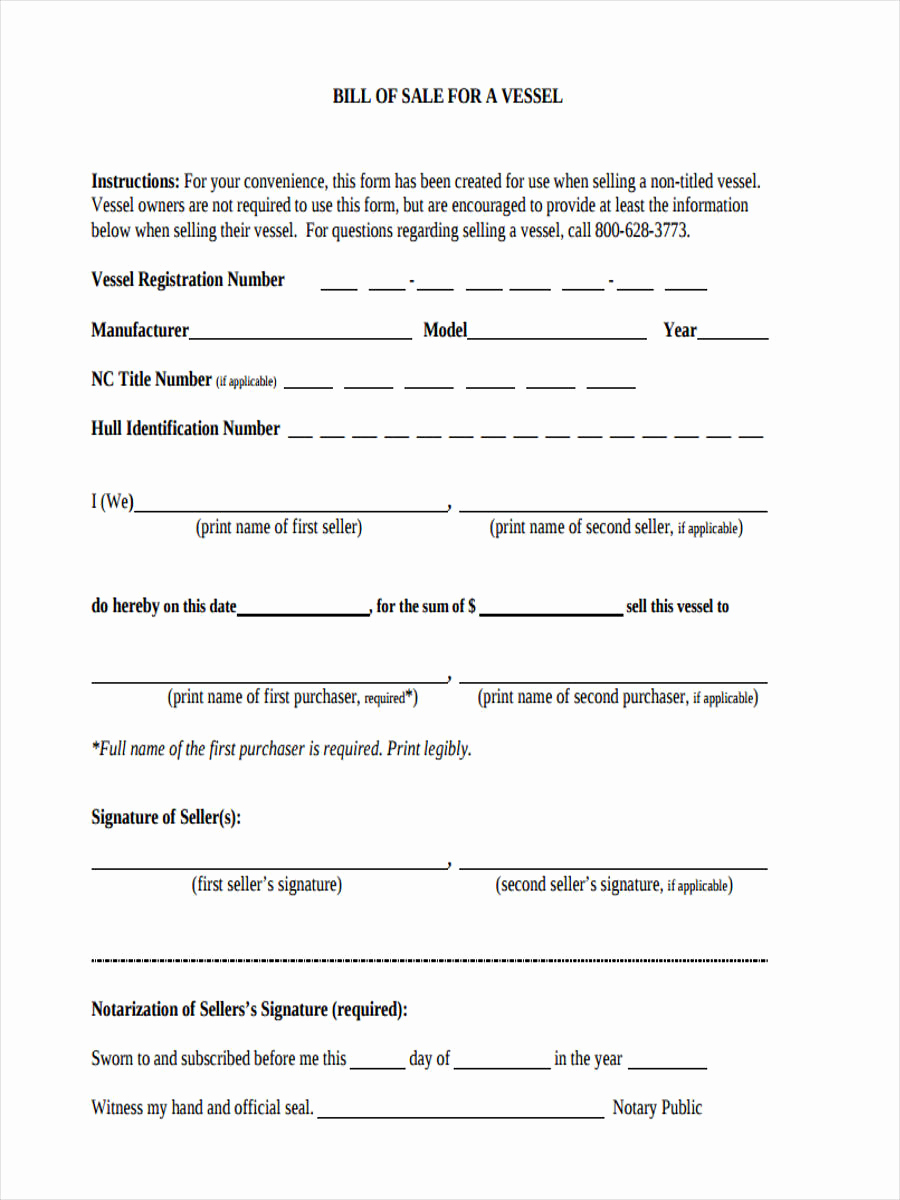 Example Of Bill Of Sale Luxury 6 Boat Bill Of Sale form Sample Free Sample Example