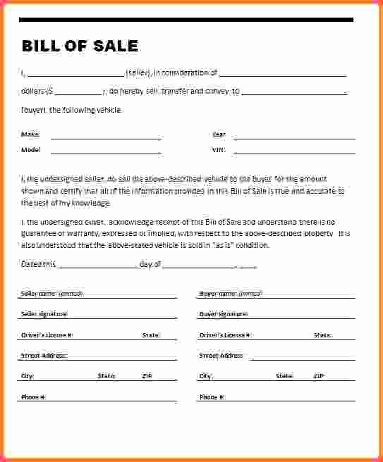 Example Of Bill Of Sale New Automotive Bill Of Sale Illinois Albanord