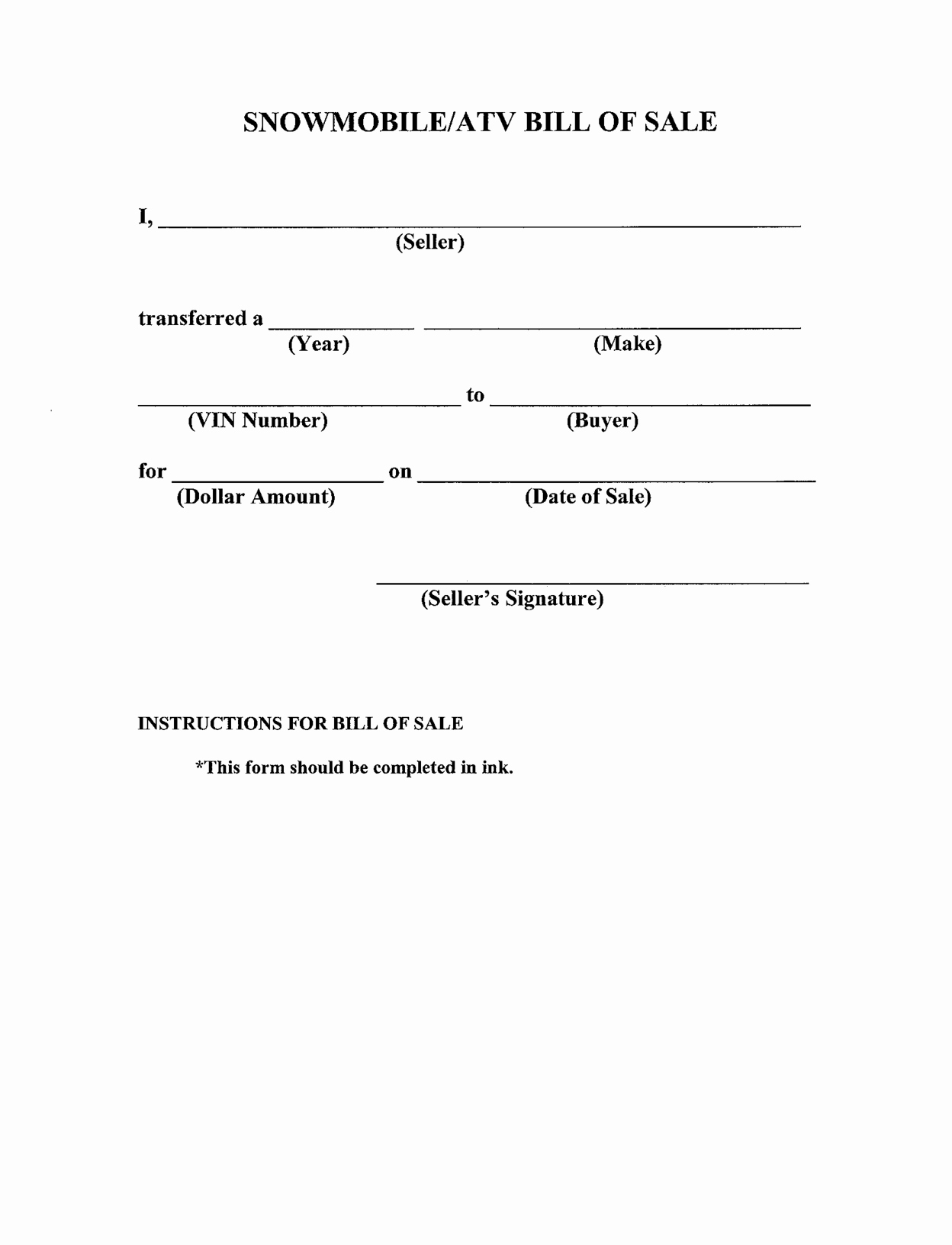 Example Of Bill Of Sale New Free Printable Bill Of Sale Templates form Generic