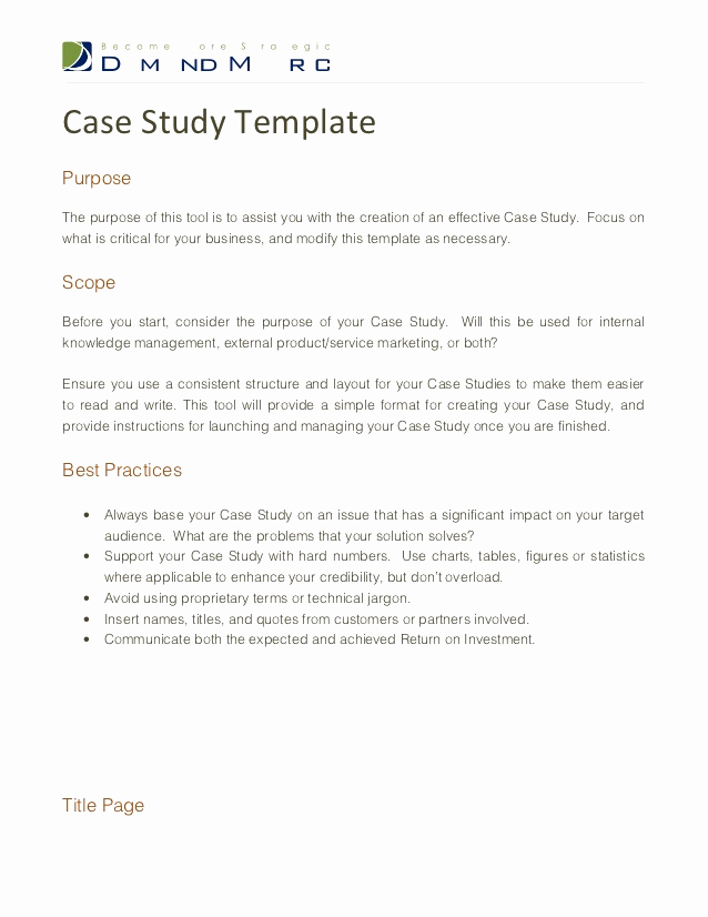 Example Of Case Study Unique Case Study Template