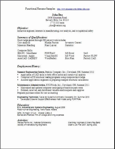 Example Of Functional Resume Awesome Functional Resume Samples Examples Samples Free Edit with Word