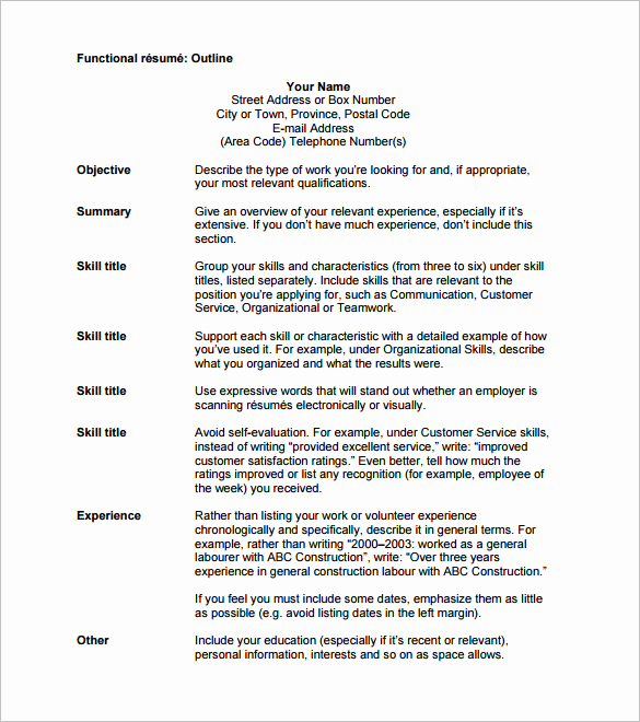 Example Of Functional Resume Beautiful 12 Resume Outline Templates & Samples Doc Pdf