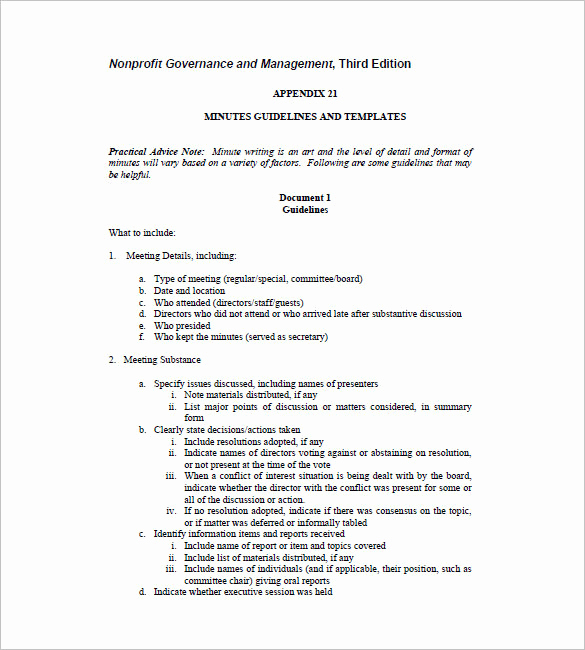 Example Of Meeting Minutes Elegant 15 Board Meeting Minutes Templates Google Docs Pdf