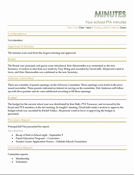 Example Of Meeting Minutes New Pta Meeting Minutes