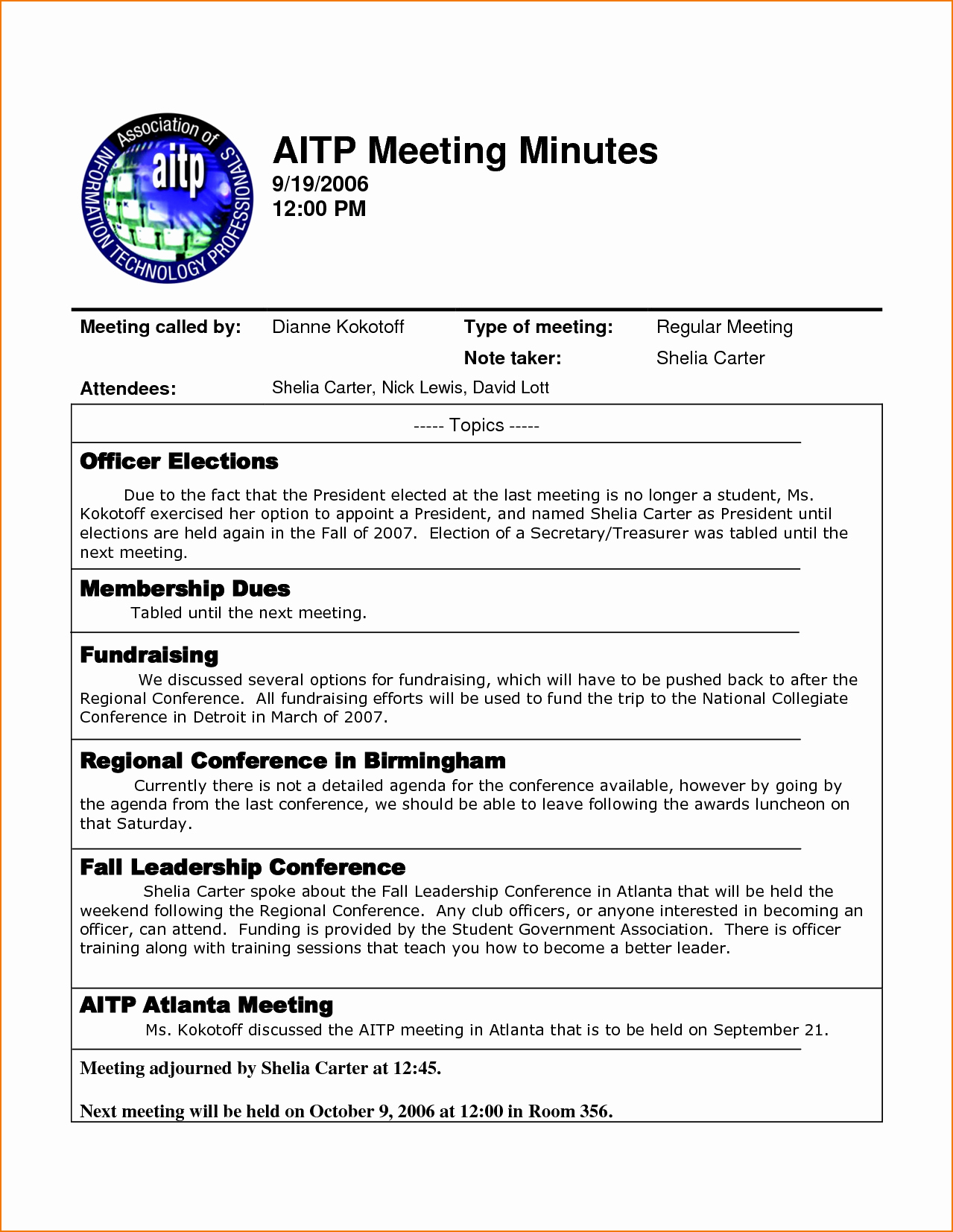 Example Of Meeting Minutes Unique 4 Sample Meeting Minutes Template