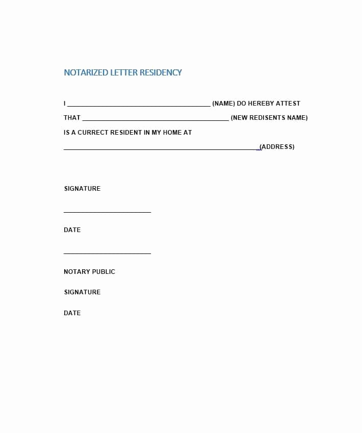 Example Of Notarized Document Elegant Free Notarized Letter Template Sample format Example