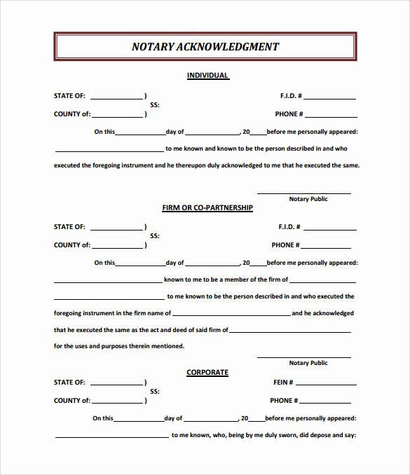 Example Of Notarized Document Lovely 9 Sample Notary Statements Free Sample Example format