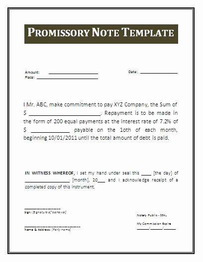 Example Of Promissory Note Fresh Promissory Note Template