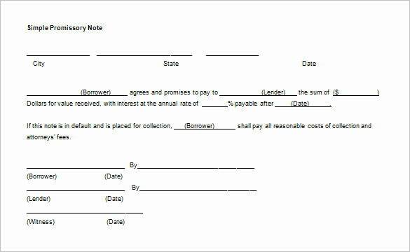 Example Of Promissory Note Lovely 35 Promissory Note Templates Doc Pdf