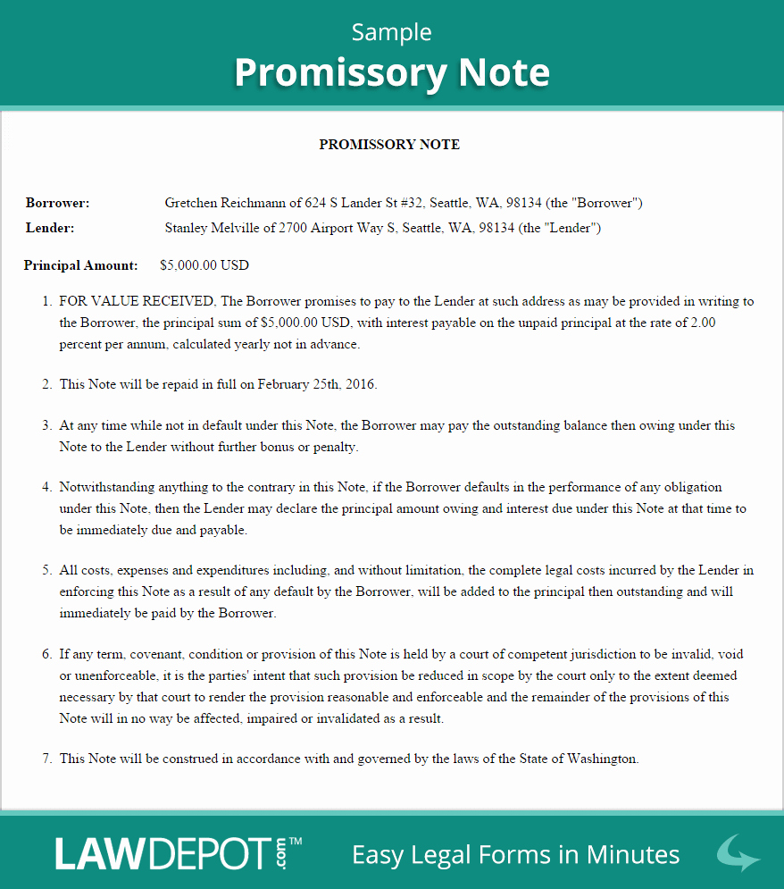Example Of Promissory Note Luxury Promissory Note form Free Promissory Note Us